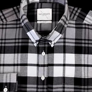 Saturdays Plaid Check Slim Fit Flannel Button Down